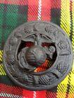 """Celtic Brooch Matt Black Finish 3""""/Kilt Fly Plaid Brooch American Eagle Emblem"""