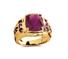 14K Solid Yellow Gold Natural Ruby Gem Stone Men's Ring Jewelry