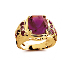 18K Solid Yellow Gold Natural Ruby Gem Stone Men's Ring Jewelry #31950