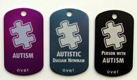 Autism Autistic Aspergers Alert Tag - Free Custom Engraving Personalization