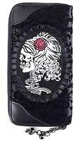 Gothic Flocked Ivy Cameo Skull Elegant Wallet Purse by Banned Black Rockabilly