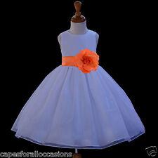 WHITE ORGANZA FLOWER GIRL WEDDING PAGEANT TODDLER BRIDESMAID 12-18M 2 3 4 6 8 10