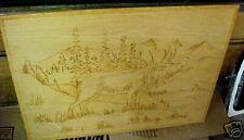 N Vintage Woodburning Folk Art Bull Elk Bugling Horns