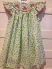 NWOT Amanda Remembered Strawberry Lime Polkadot Smocked Dress Girls 18M