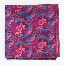 Hankie Pocket Square Handkerchief Purple Pink Floral on Blue SP84