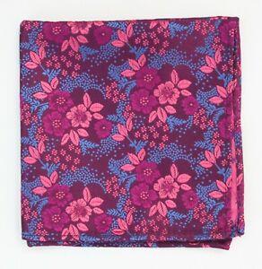 Hankie Pocket Square Handkerchief Purple Pink Floral on Blue SP84