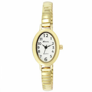 Ladies Expandable Petit  Watch with Easy Read Gold Colour Oval Dial by Ravel