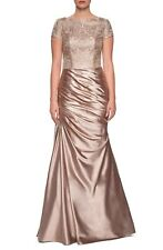 LA FEMME EMBROIDERED LIGHT GOLD GOWN DRESS sz 20