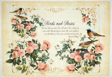 Papel De Arroz-Vintage Aves Y Rosas-Para Decoupage Decopatch Scrapbook Craft