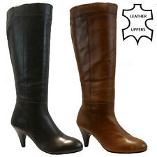 LADIES WOMENS REAL LEATHER KNEE HIGH HEEL ZIP UP BIKER RIDING BOOTS SHOES SIZE