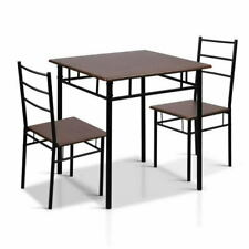 Artiss METDESK356WN Metal Table and Chairs - Walnut & Black