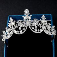 Bridal Princess Rhinestone Crystal Pearl Hair Tiara Veil Headband Wedding Crown