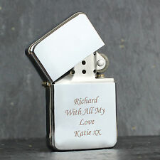 Personalised Silver Windproof Lighter - Engraved Free- Father's Day Gift for Him
