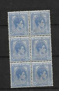 ST KITTS, NEVIS, KGV1 1938 ISSUE, 2 1/2d SG 72,MNH BLOCK 6, CAT £60, BROWN GUM