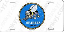 USN SeaBees Aluminum License Plate - Made in USA - We Build! We Fight! Can Do!