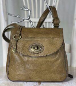 FOSSIL Carson OLIVE Leather Crossbody Messenger Organizer Shoulder Travel Bag