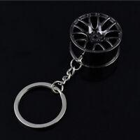 Creative Wheel Hub Rim Model Metal Keychain Car Key Chain Black Cool Keyring
