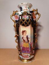 Vase ancien porcelaine Bayeux 19 siècle décor jeune femme ceramique française