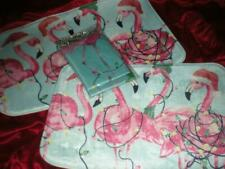 15PC CHRISTMAS BATH SET PINK FLAMINGO SHOWER CURTAIN HOOKS 2 MEMORY FOAM MATS