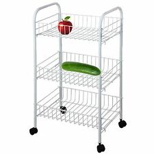 3 Tier Vegetable Fruit Storage Rack Trolley Cart Kitchen Stand with Wheels