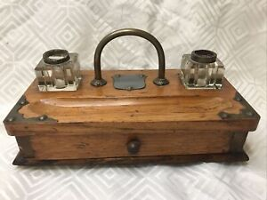 Vintage/antique Inkwell Stand With Draw Distressed Look Contents Included