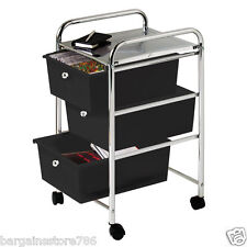 3 Drawer Chrome Finish Office Salon Bathroom Storage Hair Dresser Trolley Black