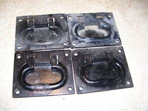 Set of 4 Antique NOS Cast Iron Trunk Chest Handles