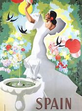 ART PRINT POSTER TRAVEL SPAIN FLAMENCO DANCE BIRD BATH NOFL1151
