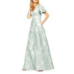Aidan by Aidan Mattox Womens Green Floral Evening Formal Dress Gown 10 BHFO 1374