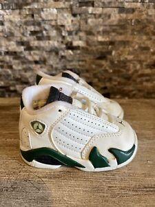 Vintage Nike Air Jordan 14 Retro (TD) White Green 312093 131 Toddler Size 3C