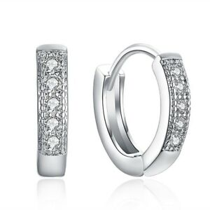 Hoop Earrings With Diamonds in Platinum over Brass
