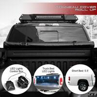 """For 2000-2004 Dodge Dakota 5.5'/66"""" Bed Lock & Roll-Up Tonneau Cover+LED Lights"""