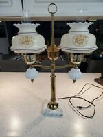 Vintage Double Arm Brass Student Table Lamp Marble Base Huricane Shades