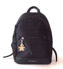 NEW TOMMY HILFIGER BLACK CANVAS+GOLD ACCENT,TOP ZIP,SMALL BACKPACK BAG