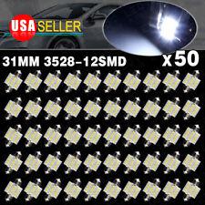 50X 7000K Cool White Festoon 31MM 12SMD Led License Plate Interior Light bulbs