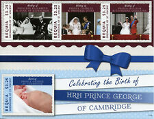 Bequia Grenadines St Vincent Stamps 2013 MNH Prince George Royal Baby 4v M/S