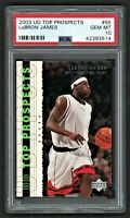2003 UPPER DECK PROSPECTS    LEBRON JAMES #55    PSA 10 GEM MINT      **ROOKIE**