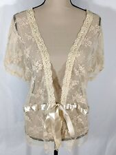 Torrid Stretch Lace Shrug Floral Print Sz 2X Beige Cap Sleeve Tie Front USA