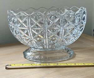 VINTAGE HEAVY ITALIAN LARGE PRESSED GLASS PEDESTAL / FOOTED FRUIT / PUNCH BOWL