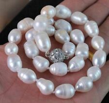 """Big 10-12MM Natural white akoya cultured pearl necklace Magnet Clasp 18"""""""