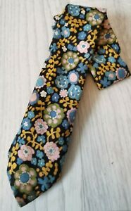 VINTAGE RETRO MENS MICHELSONS OF LONDON NECK TIE FLORAL FLOWERS 60S