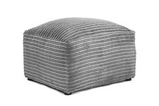 Contemporary Grey Jumbo Cord Fabric Corner Sofa Footstool or 3 2 Seater Choice Footstool Only