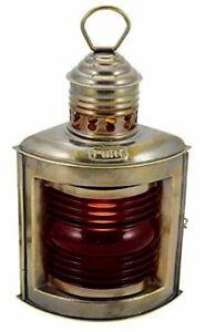 Ship Lamp - Elektrisch- Matte Brass - Antique- Red