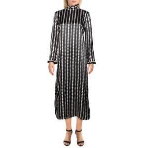 Kate Spade Womens Pearl Drops Black Silk Pattern Midi Dress 6 BHFO 2139