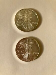 2009 UNCIRCULATED BU 1 OZ AMERICAN SILVER EAGLE $1 COIN (pack of two coins, 2oz)