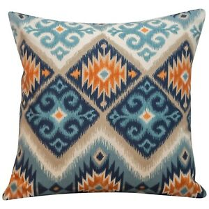 Printed Navajo Kilim Style Cushion. Teal Blue & Orange Abstract Geometric.