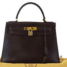 AUTHENTIC HERMES KELLY 28 CADENA HAND BAG LEATHER BROWN FRANCE VINTAGE 623Z062