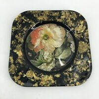 "Signed Lesley Roy Designs Hand Made USA 8"" Plate Lepidoptera Collection Gold"