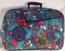 Vtg 1960s Bantam Suitcase Luggage Overnight Bag Retro Hippie Blue Floral Travel