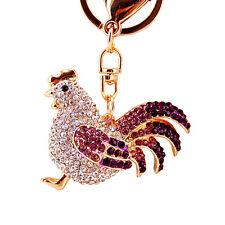 Chain Ring Keyfob Bag Clip Pendant Women Chicken Fashion Rhinestone Metal Key
